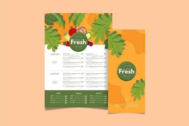 Modelo de menu de restaurante com comida saudável