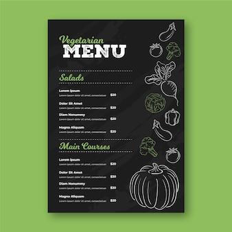 Modelo de menu de restaurante com desenhos