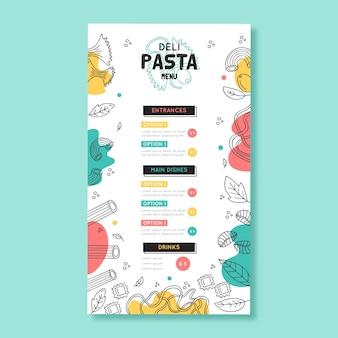 Modelo de menu de restaurante com design colorido