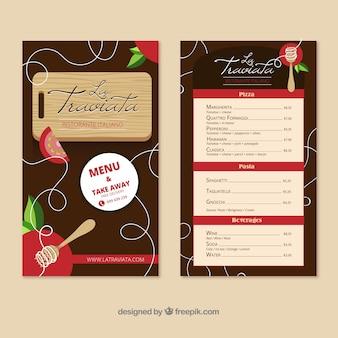 Modelo de menu de restaurante com design plano