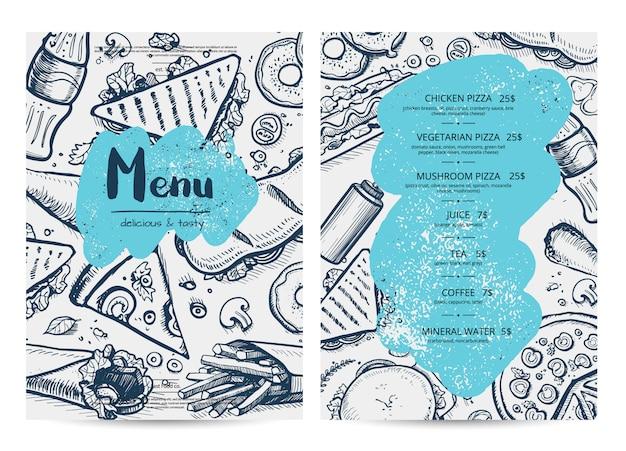 Modelo de menu de restaurante com esboços de comida