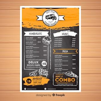 Modelo de menu de restaurante com estilo de lousa
