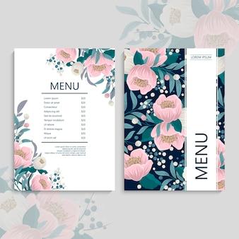Modelo de menu de restaurante com flores rosa