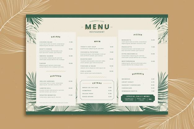 Modelo de menu de restaurante com folhas tropicais