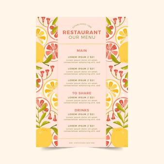 Modelo de menu de restaurante com frutas cítricas
