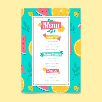 Modelo de menu de restaurante com frutas
