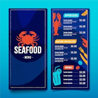 Modelo de menu de restaurante com frutos do mar