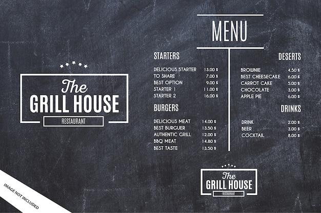 Modelo de menu de restaurante com fundo grunge