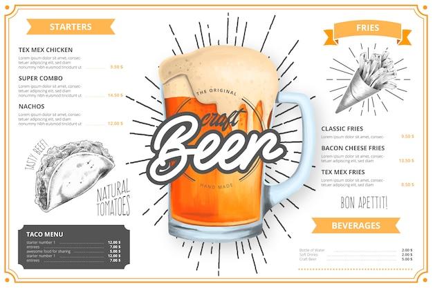 Modelo de menu de restaurante com ilustração de cervejas artesanais