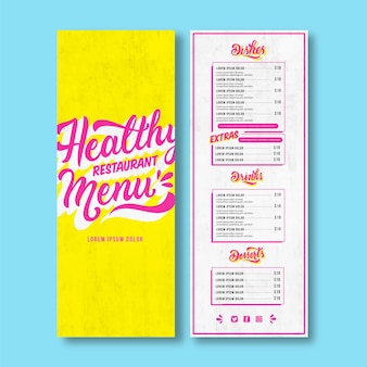 Modelo de menu de restaurante com letras chiques