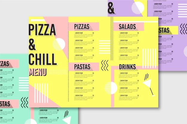 Modelo de menu de restaurante com pizza
