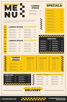 Modelo de menu de restaurante com refeições diferentes