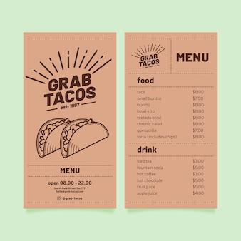 Modelo de menu de restaurante com tacos