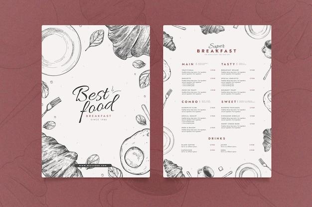 Modelo de menu de restaurante criativo