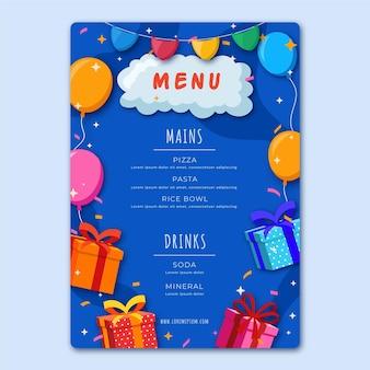 Modelo de menu de restaurante de aniversário