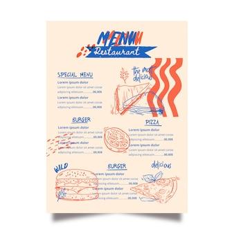 Modelo de menu de restaurante de bacon americano
