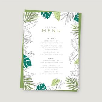 Modelo de menu de restaurante de casamento desenhado à mão