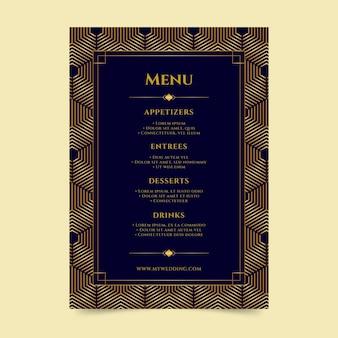 Modelo de menu de restaurante de casamento
