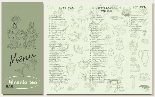 Modelo de menu de restaurante de chá