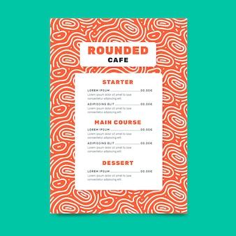 Modelo de menu de restaurante de comida criativa