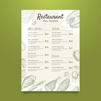 Modelo de menu de restaurante de comida deliciosa