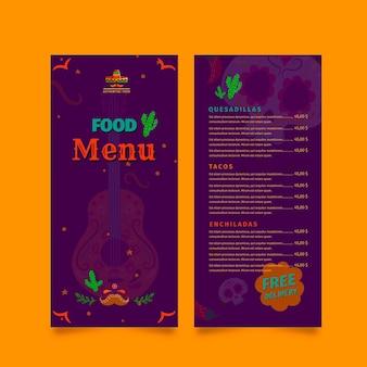 Modelo de menu de restaurante de comida mexicana