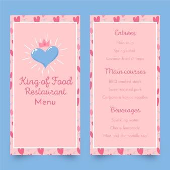 Modelo de menu de restaurante de comida rei