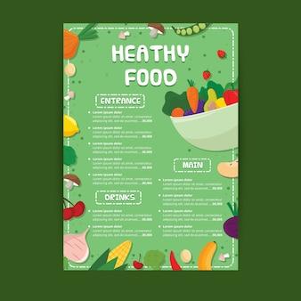Modelo de menu de restaurante de comida saudável colorida