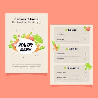 Modelo de menu de restaurante de comida saudável detalhada com ilustração