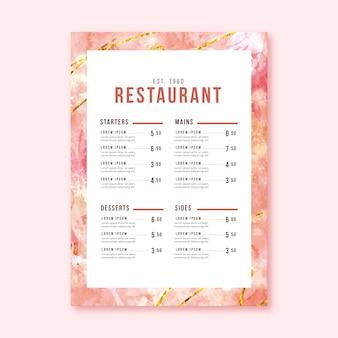 Modelo de menu de restaurante de comida saudável em aquarela