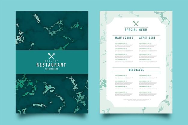 Modelo de menu de restaurante de comida saudável em mármore
