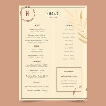 Modelo de menu de restaurante de comida saudável vintage