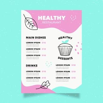 Modelo de menu de restaurante de comida saudável