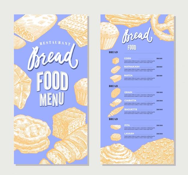 Modelo de menu de restaurante de comida vintage