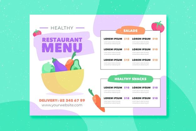 Modelo de menu de restaurante de comida
