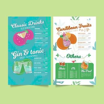 Modelo de menu de restaurante de coquetéis tropicais