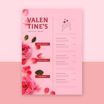 Modelo de menu de restaurante de design plano para o dia dos namorados