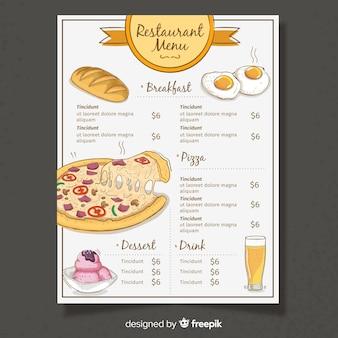 Modelo de menu de restaurante de design plano