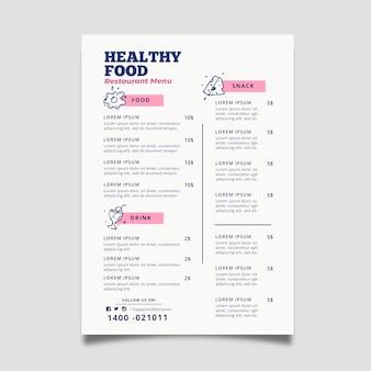 Modelo de menu de restaurante de estilo colorido