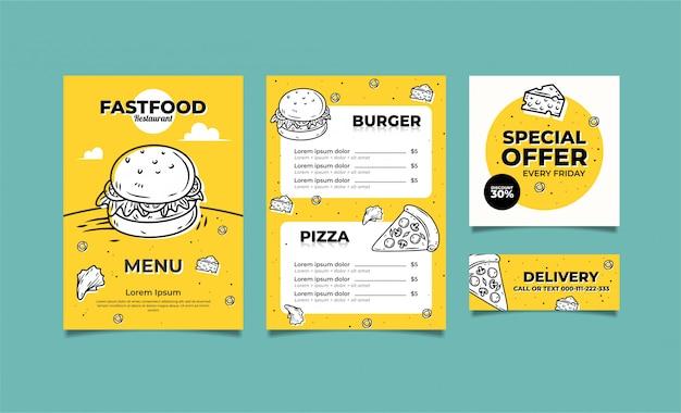 Modelo de menu de restaurante de fast food vetor premium