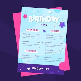 Modelo de menu de restaurante de feliz aniversário