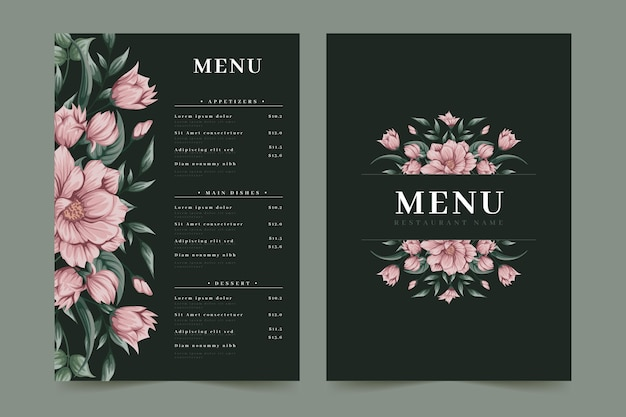 Modelo de menu de restaurante de flores rosa