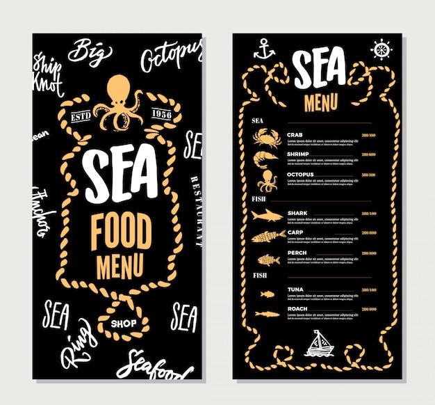 Modelo de menu de restaurante de frutos do mar desenhado à mão