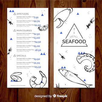 Modelo de menu de restaurante de frutos do mar mão desenhada