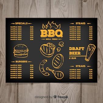 Modelo de menu de restaurante de grelha desenhada de mão