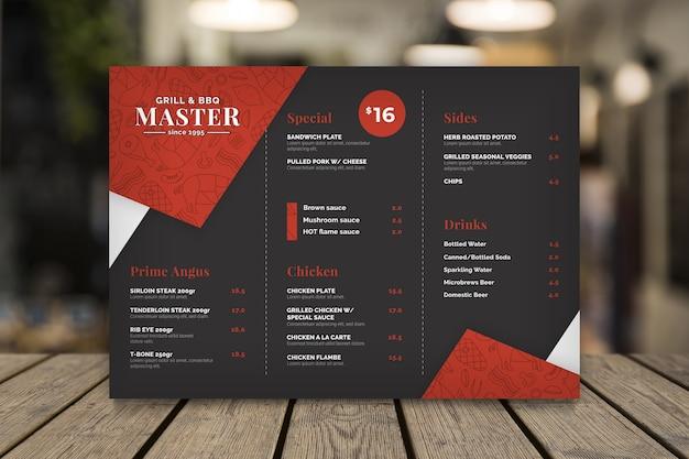 Modelo de menu de restaurante de grelha