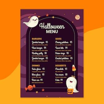 Modelo de menu de restaurante de halloween