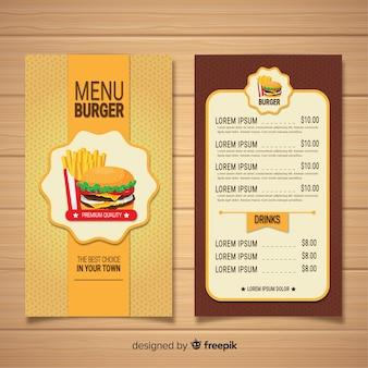 Modelo de menu de restaurante de hambúrgueres