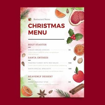 Modelo de menu de restaurante de natal em aquarela