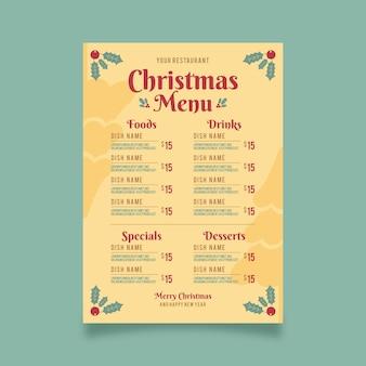 Modelo de menu de restaurante de natal vintage